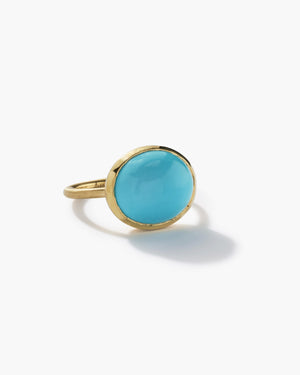 Kingman Turquoise Oval Classic Ring 18K Yellow Gold, Medium - Irene Neuwirth