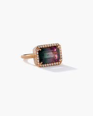 One of a Kind Bicolor Tourmaline Ring 18K Rose Gold Diamond Pavé - Irene Neuwirth