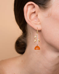 Carnelian and Diamond Clementine Half Single Earring 18K Gold - Exclusive - Irene Neuwirth