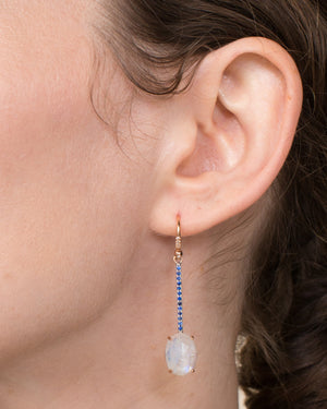 Moonstone Single Drop Earring 18K Gold Sapphire Pavé, Large - Exclusive