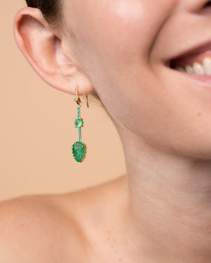 One of a Kind Round Emerald Leaf Single Drop Earring 18K Gold Emerald Pavé - Exclusive - Irene Neuwirth