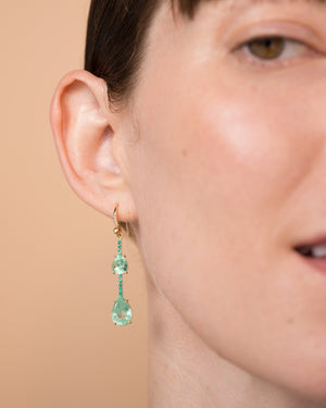 One of a Kind Emerald Pear Single Drop Earring 18K Gold Emerald Pavé - Exclusive - Irene Neuwirth