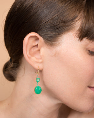 One of a Kind Chrysoprase and Emerald Single Drop Earring 18K Gold Emerald Pavé - Irene Neuwirth