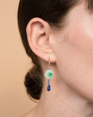 One of a Kind Green Opal Flower and Emerald Single Drop Earring 18K Gold Sapphire Pavé - Exclusive - Irene Neuwirth