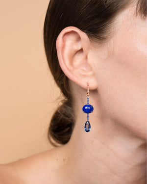 One of a Kind Lapis and Sapphire Single Drop Earring 18K Gold Sapphire Pavé - Irene Neuwirth