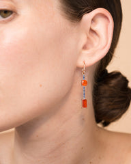 One of a Kind Double Fire Opal Single Drop Earring 18K Gold Sapphire Pavé, Large - Exclusive - Irene Neuwirth