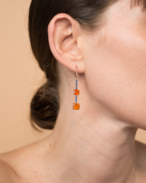 One of a Kind Double Fire Opal Single Drop Earring 18K Gold Sapphire Pavé - Irene Neuwirth