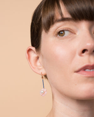 Cherry Blossom Single Drop Earring 18K Gold Sapphire - Exclusive - Irene Neuwirth