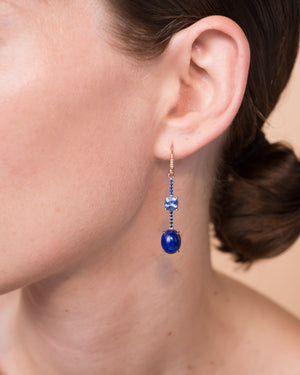 One of a Kind Sapphire and Lapis Single Drop Earring 18K Gold Sapphire Pavé - Irene Neuwirth