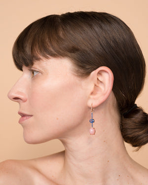 One of a Kind Pink Opal Oval and Sapphire Single Drop Earring 18K Gold Sapphire Pavé - Irene Neuwirth