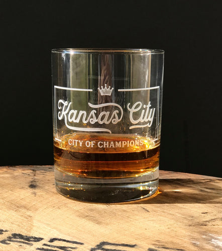 Kansas City of Champions Rocks Glass
