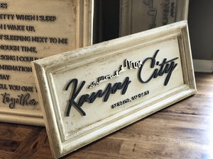 Script font Kanas City Skyline Home Decor Sign