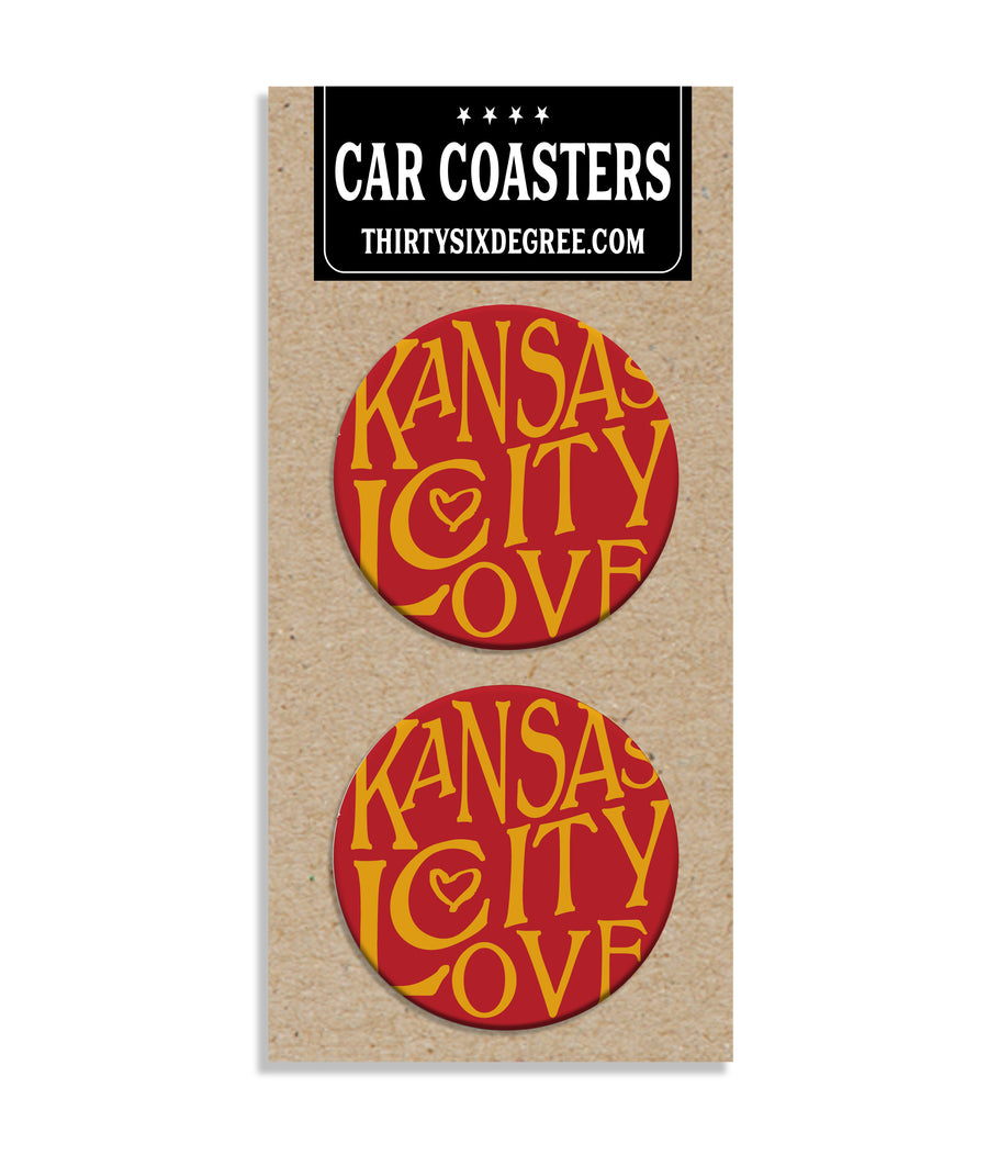 Kansas City Love Red & Gold Car Coaster