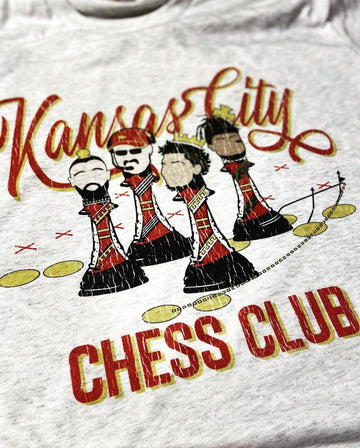 Distressed Kansas City Chess Club T-Shirt (Light Grey)