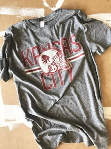 Distressed Kansas City Helmet T-Shirt