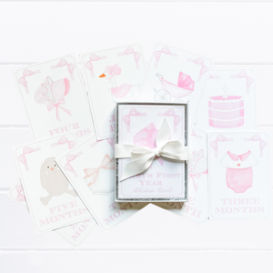 Watercolor Classic Baby Milestone Cards - Pretty Proper Pink