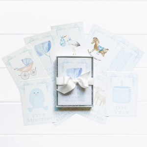 Watercolor Classic Baby Milestone Cards - Little Boy Blue