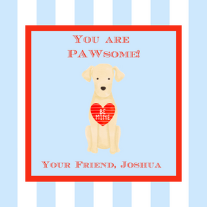 Digital Download - Valentine's Day Sticker or Gift Tag - 3x3 - You Are PAWsome Dog Valentine