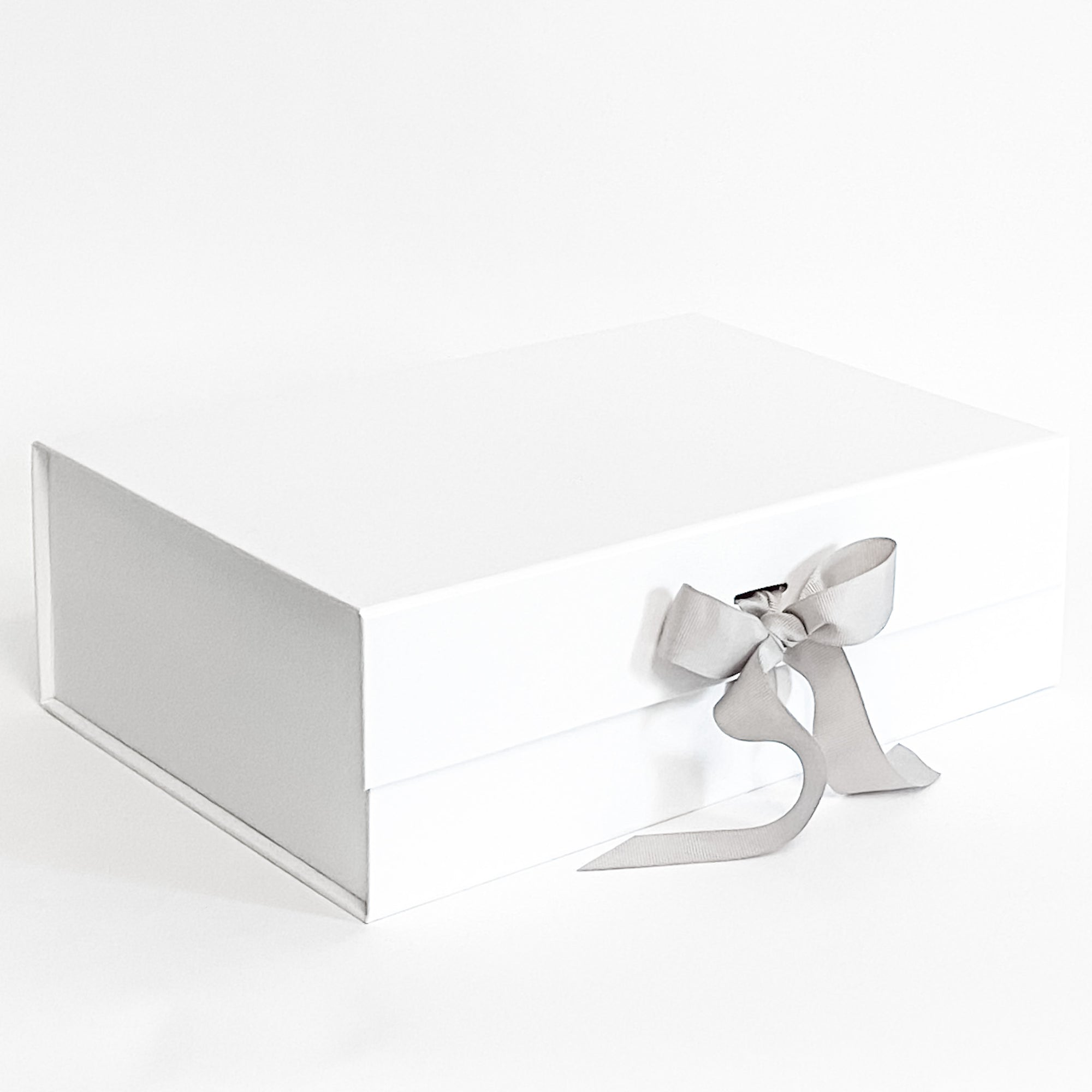 White Gift Box with Gray Grosgrain Ribbon