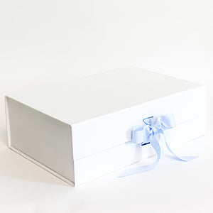 White Gift Box with Light Blue Grosgrain Ribbon