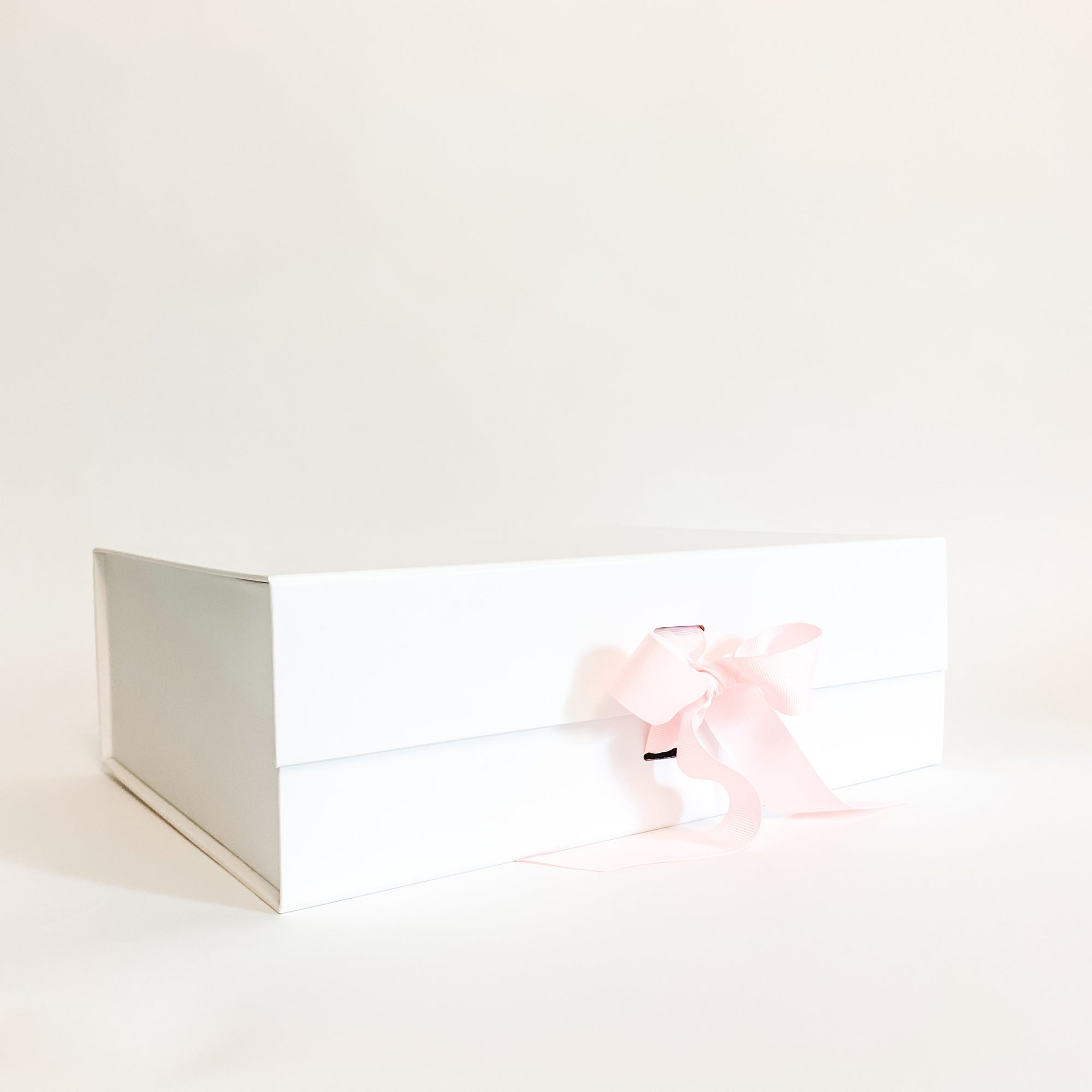 White Gift Box with Pink Grosgrain Ribbon