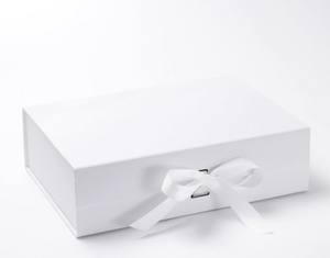 White Gift Box with White Grosgrain Ribbon