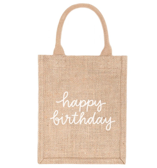 Happy Birthday Reusable Jute Gift Tote (Small)