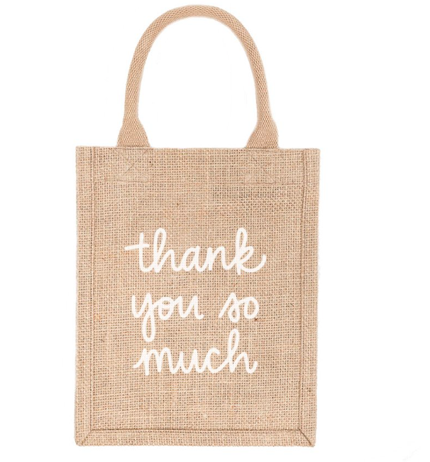 Thank You Reusable Jute Gift Tote (Small)