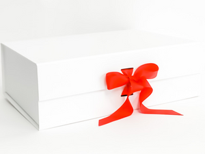White Gift Box with Red Grosgrain Ribbon