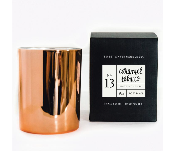 Sweet Water Decor Rose Gold Candle - Caramel Tobacco