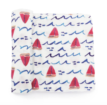 Omo Baby & Child - Luxury Bamboo Muslin Swaddle Blanket - Sailboat and Stars - 2 Piece