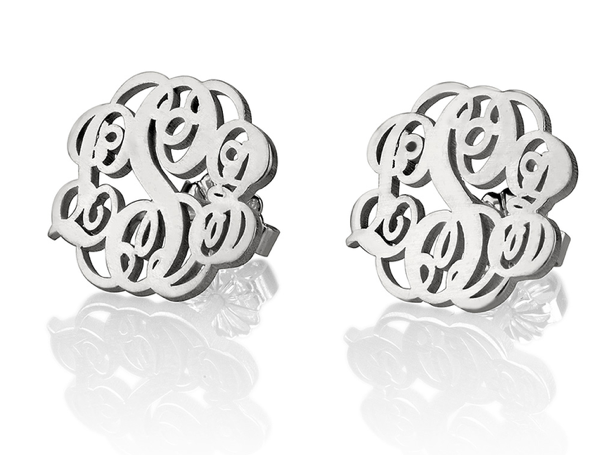 Monogram Sterling Silver Stud Earrings
