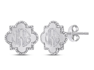 Monogrammed Sterling Silver Quatrefoil Earrings