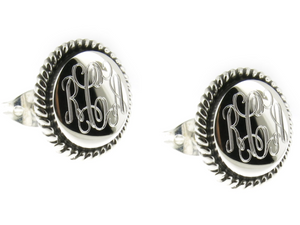 Monogrammed Sterling Silver Round Roped Edge Earrings