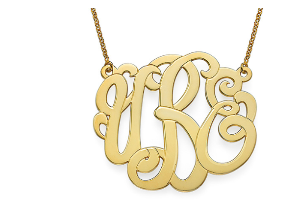 XXL Premium Monogram 18k Gold Plated Necklace - Approximately 2in