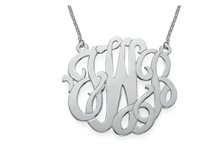 XXL Premium Monogram  Sterling Silver Necklace - Approximately 2in