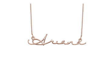 Signature Name 18k Rose Gold Plated Necklace