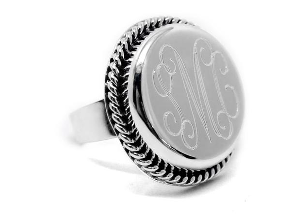 Monogrammed Sterling Silver Round Roped Edge Ring
