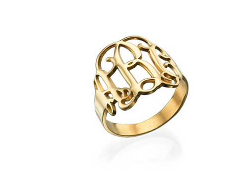 18k Gold Plated Monogram Ring