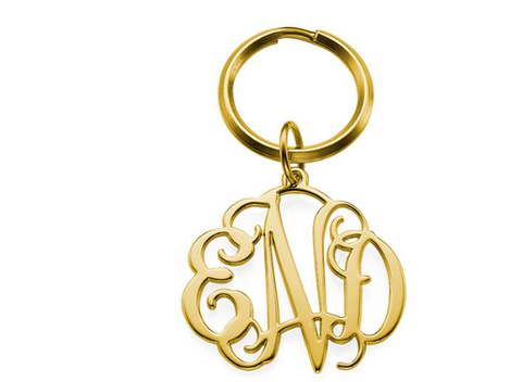 18k Gold Plated Monogram Keychain