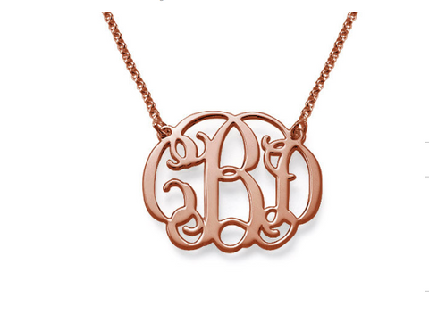 18k Rose Gold Plated Monogram Necklace
