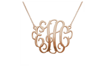 XXL 18k Rose Gold Plated Monogram Necklace - 2in