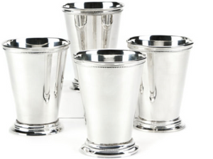 Beaded Sterling Silver Plated Mint Julep Cups - Set of 4