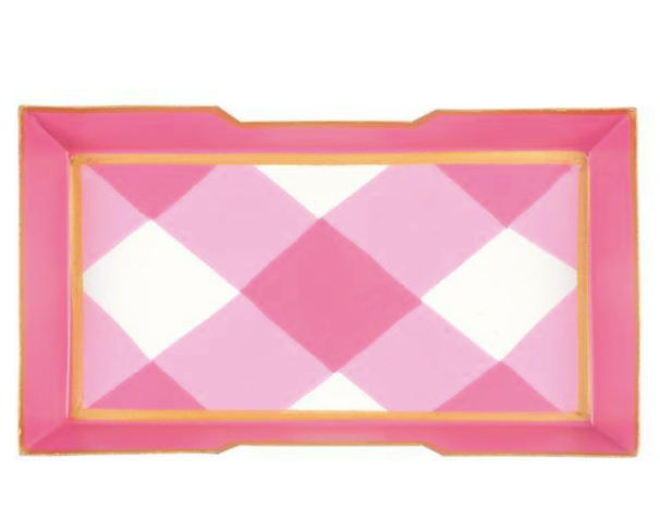 Pink and White Buffalo Plaid Guest Towel Tray