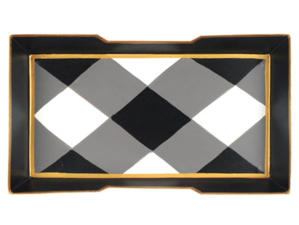 Black and White Buffalo Plaid Guest Towel Tray