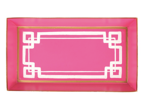 Pink and White Interlocking Key Guest Towel Tray