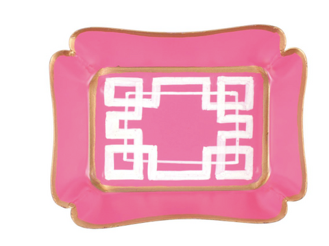 Pink and White Interlocking Key Trinket Tray