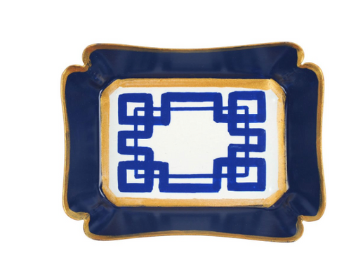 White and Blue Interlocking Key Trinket Tray