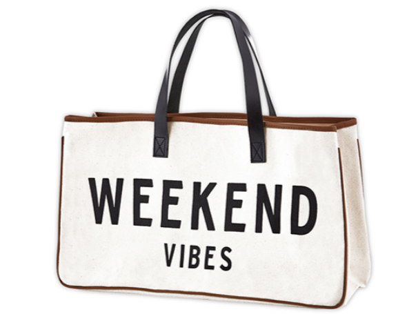 Weekend Vibes Tote with Leather Handles