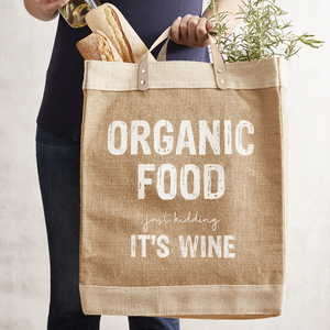 Jute Market Tote with Leather Handles - Organic Food Just Kidding It's Wine